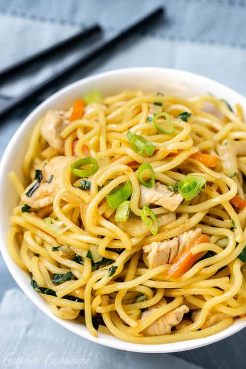 Chicken chow mein bowl.| www.CuriousCuisiniere.com