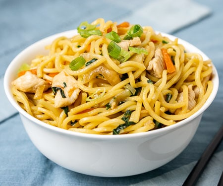 "Literally translating to ""fried noodles,"" this recipe for Chicken Chow Mein is a quick and comforting Chinese noodle dish that is easy to make at home. 