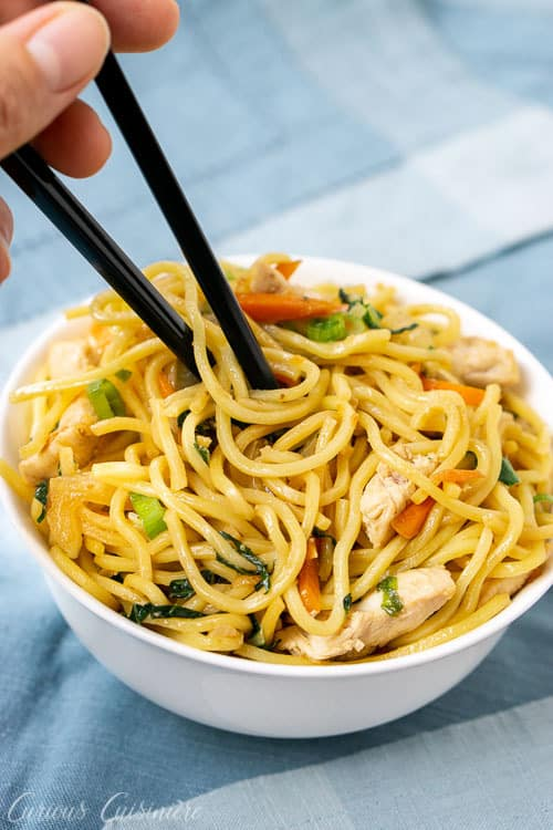 """Literally translating to """"fried noodles,"""" this recipe for Chicken Chow Mein is a quick and comforting Chinese noodle dish that is easy to make at home.