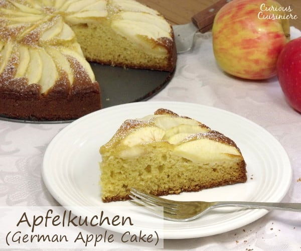 Fluffy and buttery cake topped with apples slices, Apfelkuchen, or German Apple Cake, is a perfect fall dessert. | www.curiouscuisiniere.com