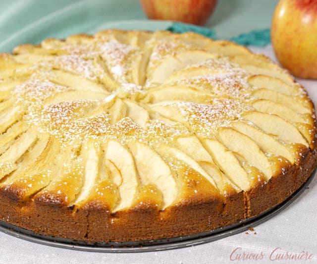 A whole Apfelkuchen, German Apple Cake. | www.CuriousCuisiniere.com