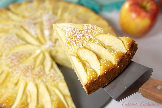 A slice of moist and buttery Apfelkuchen, German Apple Cake, showing off the apple topping. | www.CuriousCuisiniere.com
