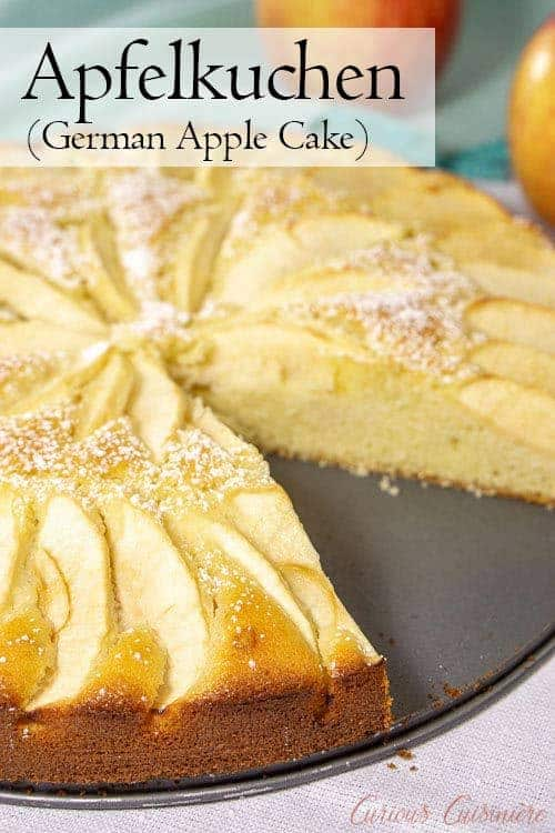 Moist and buttery cake meets fall apples in Apfelkuchen, a classic German Apple Cake that is the perfect recipe for a fall dessert. | www.CuriousCuisiniere.com