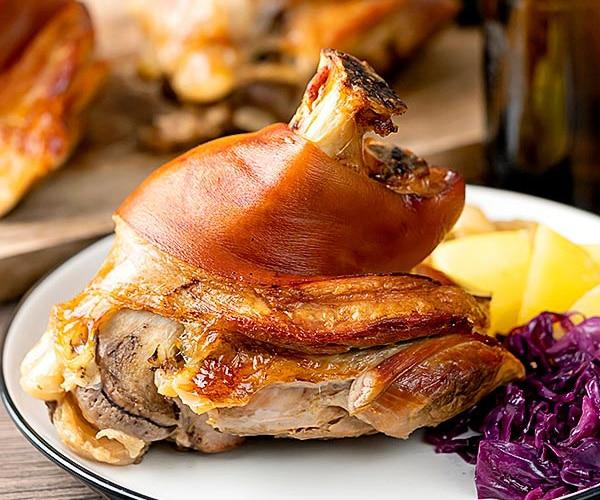 Schweinshaxe (German Roast Pork Knuckle) up close finished knuckle