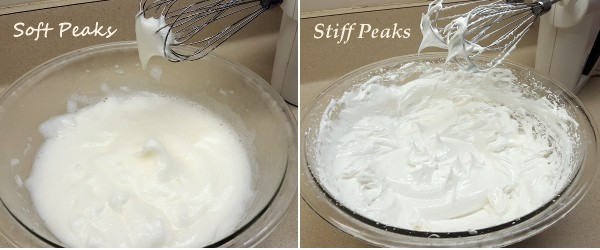 Easily tell the difference between sot peaks and stiff peaks when you whip egg whites. | www.curiouscuisiniere.com