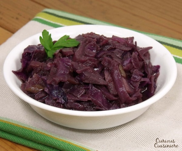 Sweet and tangy German red cabbage is a delicious and healthy side dish for any fall meal. | www.curiouscuisiniere.com
