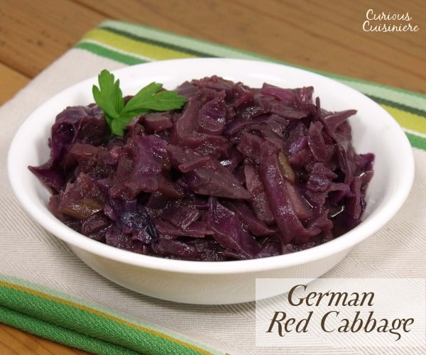 Sweet and tangy, slow braised red cabbage, Blaukraut, is a must-have side with any German meal and a tasty way to get anyone to enjoy cabbage. | www.curiouscuisiniere.com