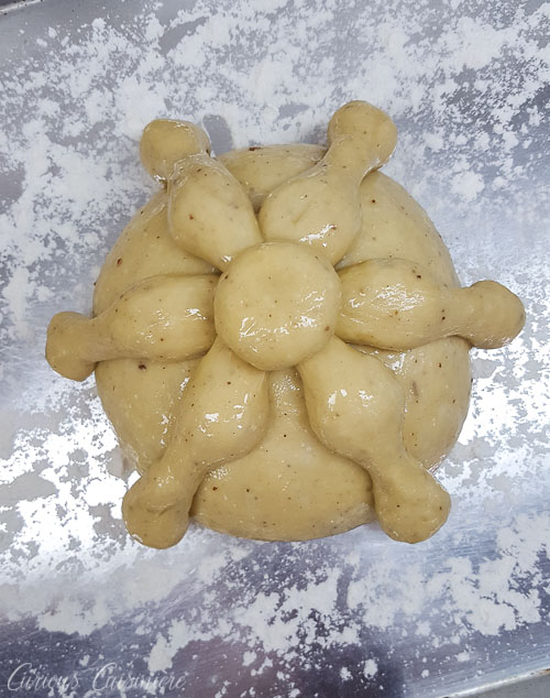 Dough ready to rise for Mexican Day of the Dead Bread Pan de Muerto