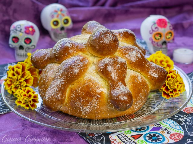 Mexican Day of the Dead Bread Pan de Muerto with skulls