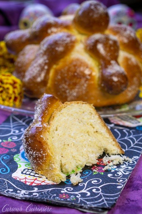 A slice of Mexican Day of the Dead Bread Pan de Muerto
