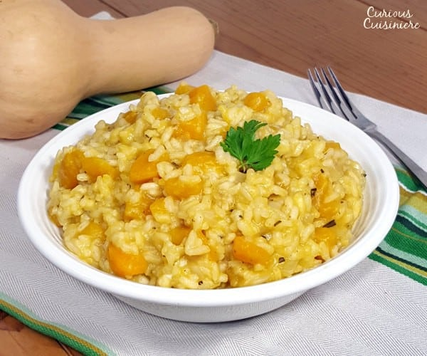 This creamy risotto gets a slight sweetness from butternut squash. Perfect for a warming fall dinner!