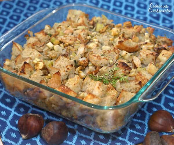 Slightly sweet and nutty, this French Chestnut Stuffing recipe is perfect for any holiday table. | www.curiouscuisiniere.com