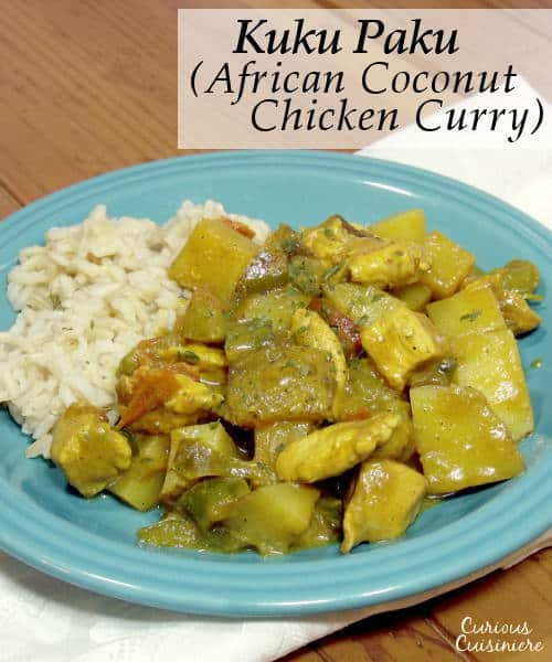 This light and bright African Coconut Chicken Curry is a creamy and comforting dish: the perfect recipe for serving over steamed rice. | www.curiouscuisiniere.com