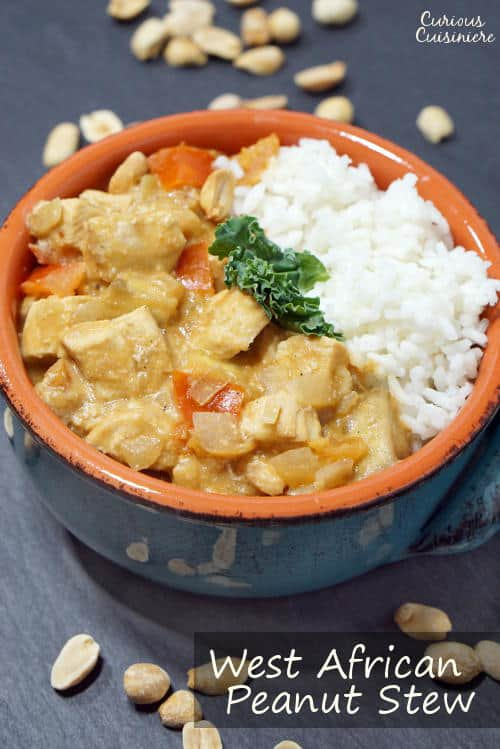 West African Peanut Stew brings tender chicken and earthy, nutty peanuts together in one flavorful and comforting dinner recipe. | www.curiouscuisiniere.com