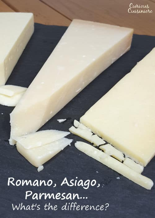 Parmesan, Romano, and Asiago cheese can look similar, but we've broken down their differences, so you know which Italian cheese to grab for your spaghetti. | www.CuriousCuisiniere.com