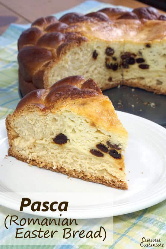Pasca is a festive Romanian Easter Bread made up of a soft, panettone-like bread that is filled with a cheesecake center. It is the perfect recipe for a celebration! | www.CuriousCuisiniere.com