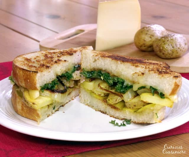 A Swiss Raclette cheese dinner meets a classic, American sandwich in this Grilled Raclette Cheese Sandwich recipe. Add a twist to your classic grilled cheese with this taste of the Alps! | www.CuriousCuisiniere.com