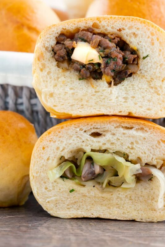 Baked Piroshki - Russian Stuffed Rolls beef and egg or cabbage and mushroom fillings