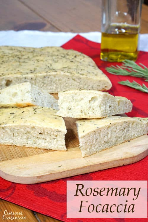 This soft, chewy Focaccia bread is flavored with rosemary and sea salt. It is perfect for serving as an appetizer or along side a pasta dinner!   www.CuriousCuisiniere.com