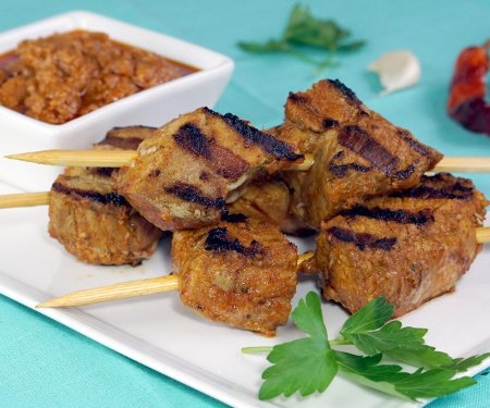 Pinchos Morunos Spanish Pork Skewers with Mojo Picon | Curious Cuisiniere