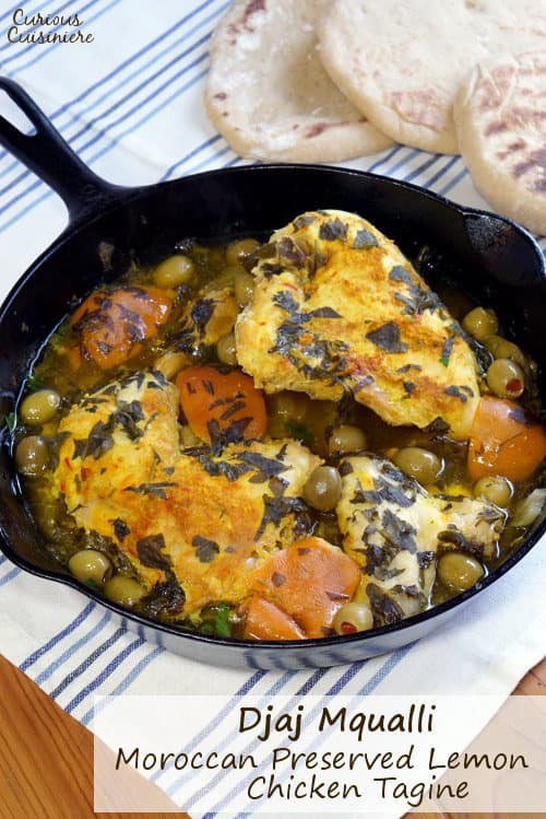 Moroccan Preserved Lemon Chicken Tagine brings fall-off-the-bone tender chicken together with a bright flavor from preserved lemons and a savory burst of green olives. | www.CuriousCuisiniere.com