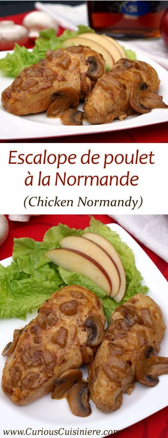 Tender and creamy Poulet à la Normande (Chicken Normandy) brings apples, mushrooms, brandy, and cream together into one seriously comforting and easy to make French dish. | www.CuriousCuisiniere.com