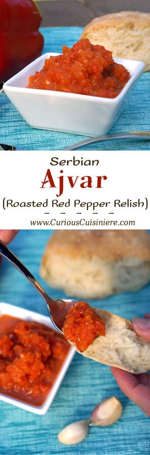 Get ready to fall in love with grill-roasted red peppers. One bite of Ajvar, and you will want to put this Serbian red pepper relish on everything from bread to meat and even veggies!| www.CuriousCuisiniere.com
