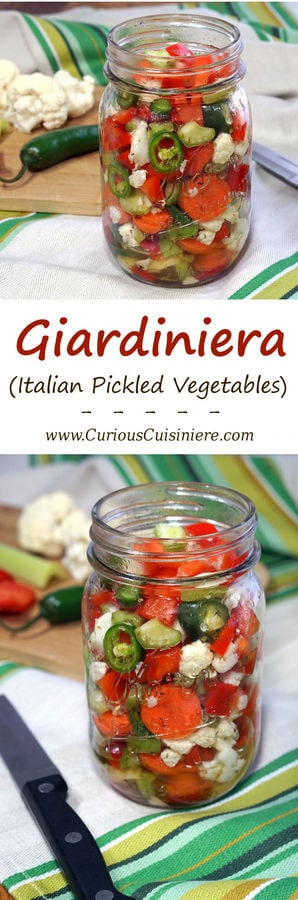Our homemade Giardiniera recipe gives you the freedom to choose your level of heat. These Italian pickled vegetables are the perfect, crisp sandwich topper and much more! | www.CuriousCuisiniere.com