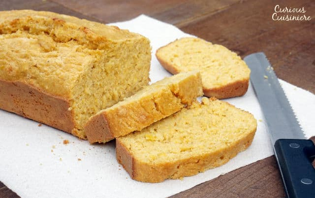 Kernels of sweet corn stud this sweet and flavorful Mealie Bread, a South African sweetcorn