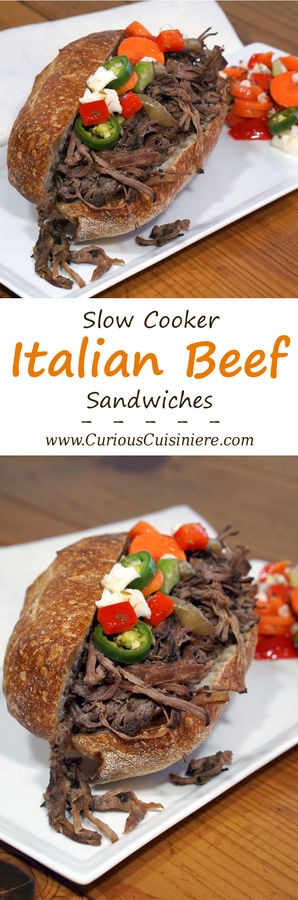 The slow cooker makes homemade Italian Beef sandwiches a fun and easy way to bring this Chicago classic to your next party! | Curious Cuisiniere