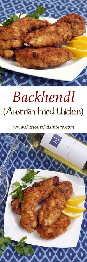 Give fried chicken an Austrian flair with easy to make Backhendl. If you love Schnitzel, this Austrian fried chicken will soon become a favorite too! | www.CuriousCuisiniere.com