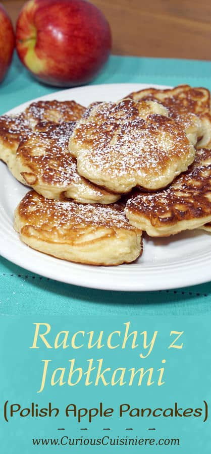 Crispy on the outside, sweet and fluffy on the inside, these Polish Apple Pancakes are sure to become a favorite fall treat!   www.CuriousCuisiniere.com