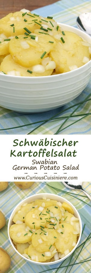 Tangy and sweet Schwabischer Kartoffelsalat, is flavorful German Potato Salad, perfect for your next cookout or picnic, or for celebrating Oktoberfest. | www.CuriousCuisiniere.com