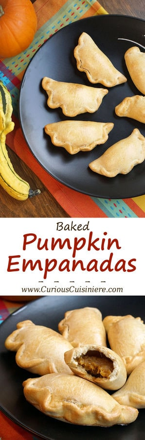 Lightly sweet and full of pumpkin pie flavor, these Baked Pumpkin Empanadas are a fun treat for any pumpkin lover! | www.CuriousCuisiniere.com