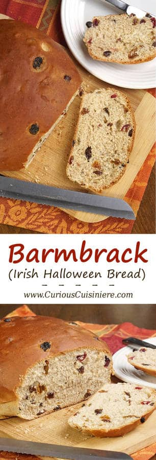 Sweet and eggy Barmbrack is an Irish tradition. Grab a slice of this Halloween bread with a good smear of butter, and it might just tell your fortune! | www.CuriousCuisiniere.com