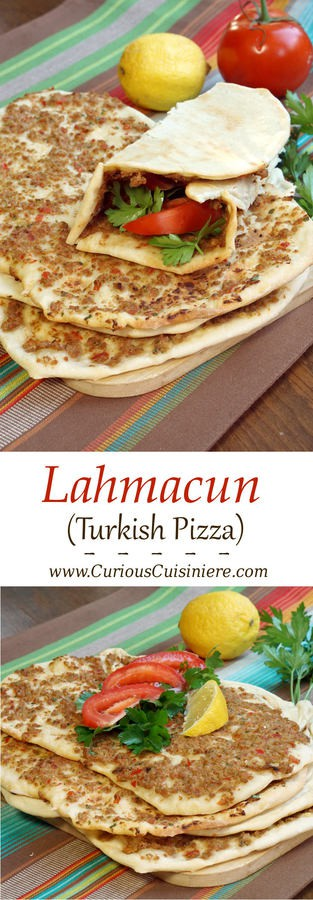 Crispy, flatbread Turkish pizza, Lahmacun, is fun to eat and a great recipe for a party, since everyone can top their own as they desire. | Curious Cuisiniere