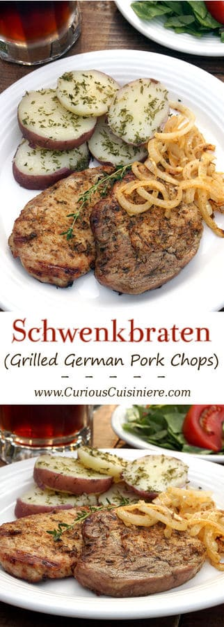 In western Germany you find a fun grilling tradition known as 'Schwenker'. These juicy, smoky grilled German pork chops are cooked on a swinging grill! | www.CuriousCuisiniere.com