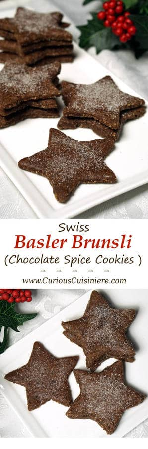 These gluten free, Swiss chocolate almond flour cookies, known as Basler Brunsli, boast a rich chocolate flavor, a light nuttiness, and a fun, chewy texture! | www.CuriousCuisiniere.com