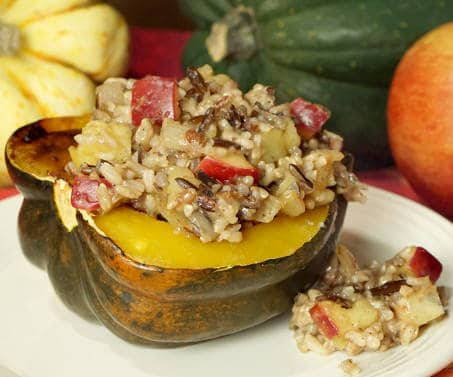 Harvest Wild Rice and Apple Stuffed Squash