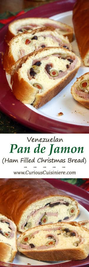 Pan de Jamon is a traditional Venezuelan Christmas bread filled with ham and olives. Its robust flavors are a unique tribute to Venezuelan culture.   www.CuriousCuisiniere.com
