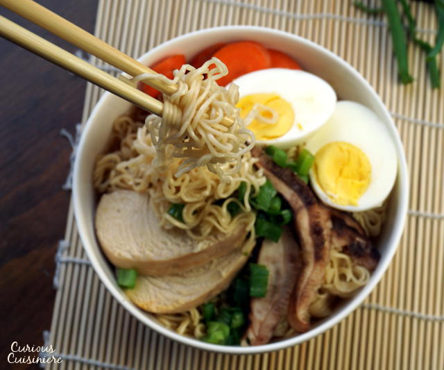 Nutritious, delicious, homemade Ramen soup is made SUPER EASY in your slow cooker! You don't want to miss this easy and versatile weeknight dinner recipe! | www.CuriousCuisiniere.com