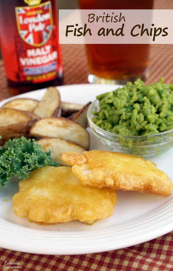 "Crispy battered fish, served with a side of chips and mushy peas. Do you call it ""fish and chips"" or ""fish fry""? Either way, British fish and chips is a recipe for some serious comfort food! 