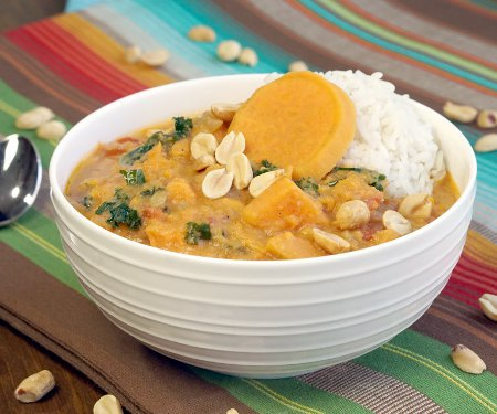 Vegetarian African Peanut Soup with Sweet Potatoes