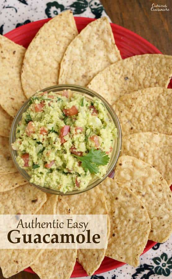 If you've never made guacamole from scratch, you'll be surprised how fun our Authentic Easy Guacamole recipe is. With just a few ingredients, you can be dipping away! | www.CuriousCuisiniere.com
