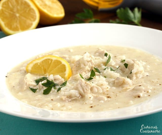 Avgolemono is a light, Greek soup that combines chicken, rice, and lemon in a perfectly refreshing meal or starter. | www.CuriousCuisiniere.com