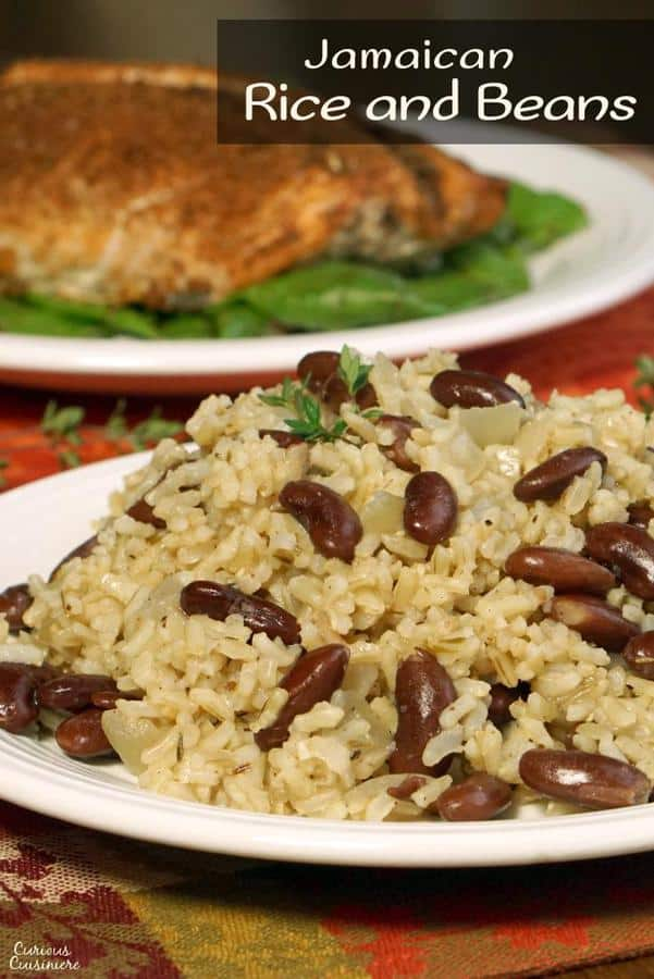 Jamaican Rice and Peas (or Caribbean Red Beans and Coconut Rice) is an easy and flavorful side dish that brings a fun tropical flair to your meal. | www.CuriousCuisiniere.com