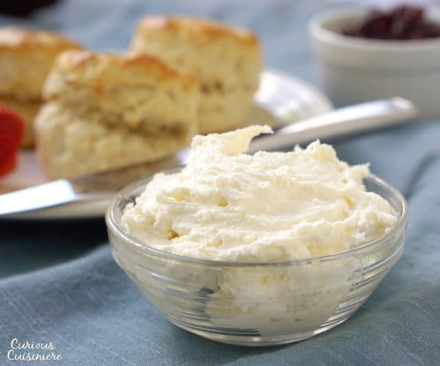 Clotted Cream is the essential companion to British scones, and it's so easy to make at home! | www.CuriousCuisiniere.com