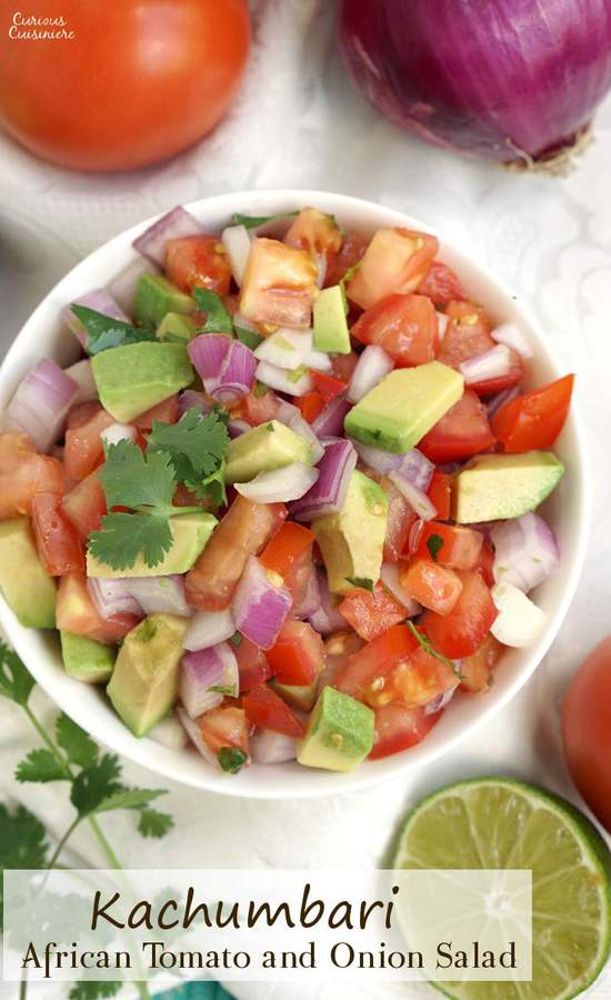 Kachumbari is a light and fresh tomato and onion salad that makes for a perfect summer side dish to pair with your grilled meats!   www.CuriousCuisiniere.com