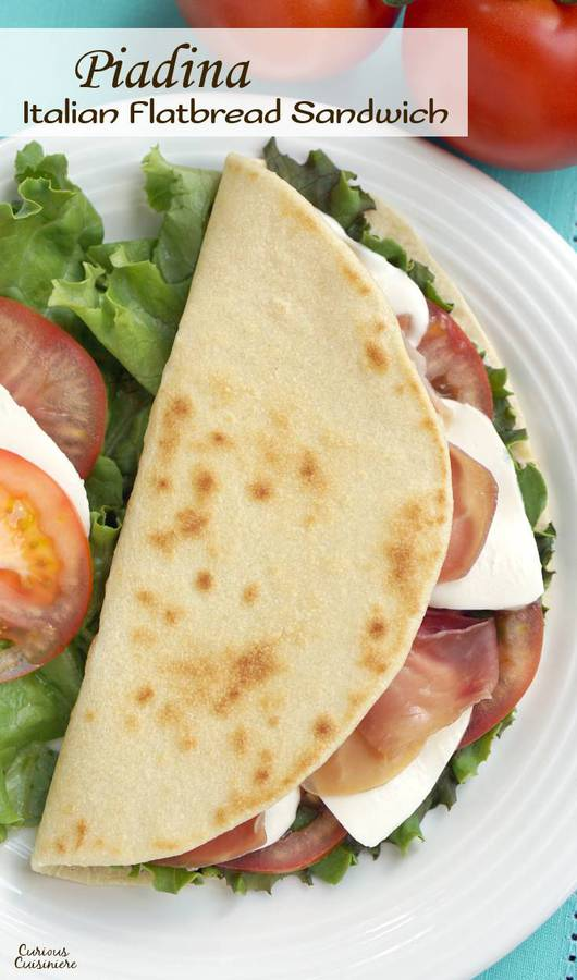 Piadina is a thin, Italian flatbread that is made my street vendors and sold sandwich-style loaded with tasty fillings like fresh mozzarella and flavorful prosciutto. | www.CuriousCuisiniere.com