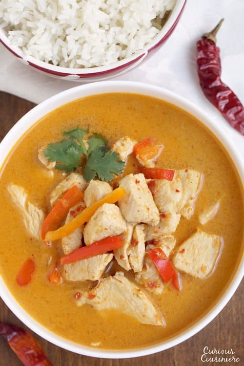 Thai Red Curry is a creamy and flavorful curry that is incredibly versatileand easy to make. It's the perfect weeknight dinner! | www.CuriousCuisiniere.com